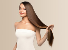 Healthy strong hair long brunette hairstyle female